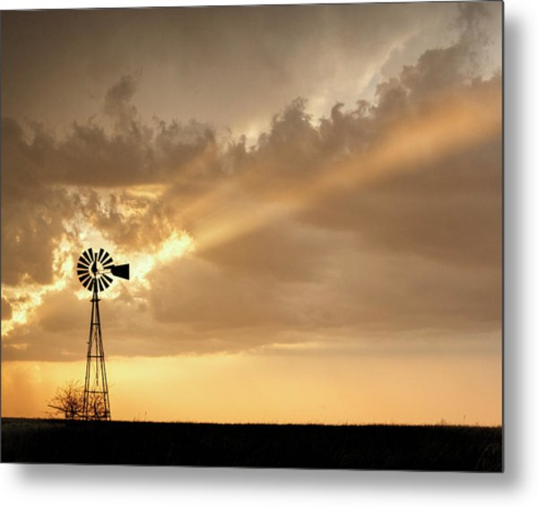 Metal Print featuring the photograph Stormy Sunset And Windmill 02 by Rob Graham