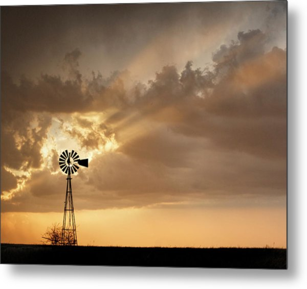 Metal Print featuring the photograph Stormy Sunset And Windmill 03 by Rob Graham