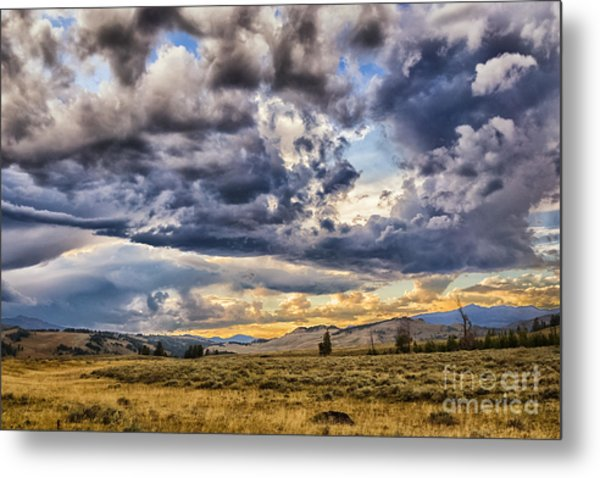 Stormy Sunset At Blacktail Plateau Metal Print