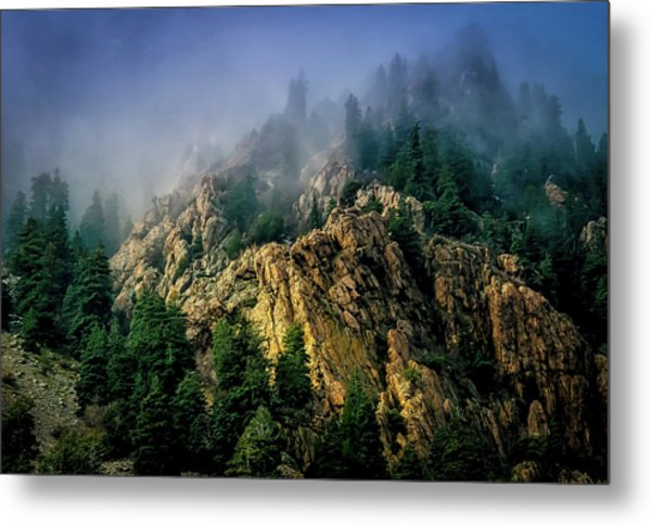 Stormy Wasatch- Fog Metal Print