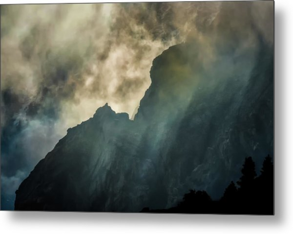 Stormy Wasatch- Rays Metal Print