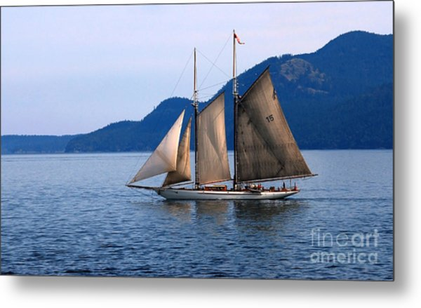 Strait Of Juan De Fuca Sailboat Metal Print