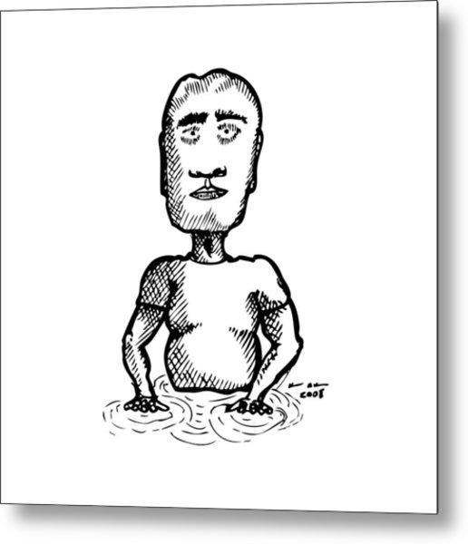 Strange Man In Pool Metal Print by Karl Addison