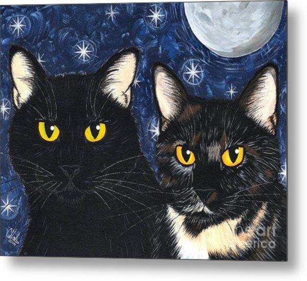 Strangeling's Felines - Black Cat Tortie Cat Metal Print