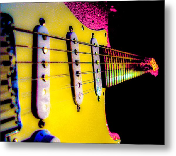 Metal Print featuring the photograph Stratocaster Pop Art Pink Fire Neck Series by Guitar Wacky