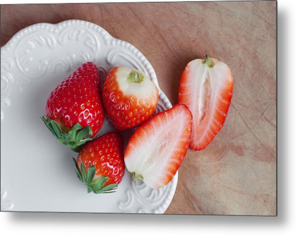 Strawberries From Above Metal Print