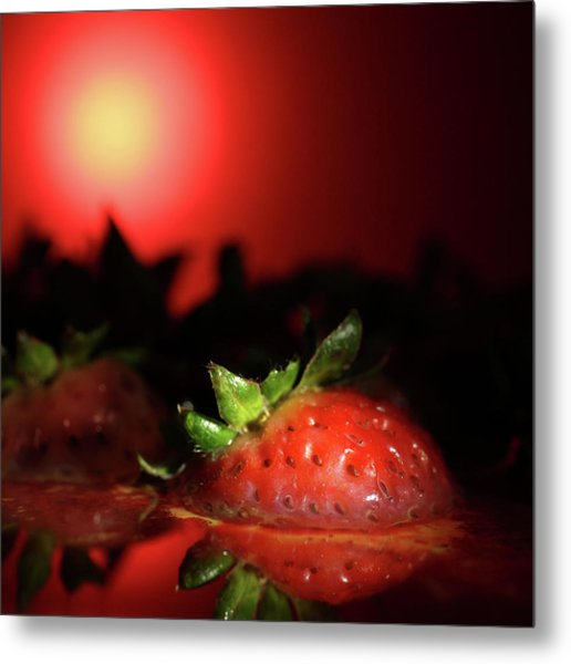 Strawberries In Motor Oil Metal Print