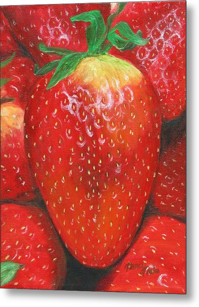 Metal Print featuring the painting Strawberries by Nancy Nale
