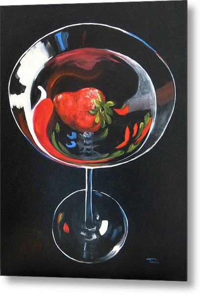 Strawberry Martini Metal Print by Torrie Smiley