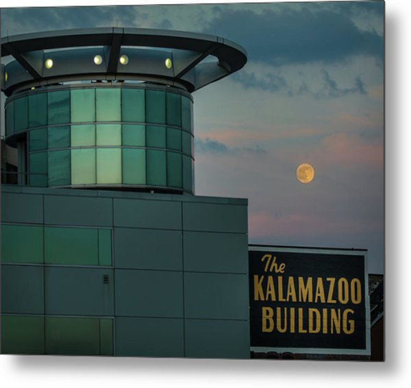 Strawberry Moonrise Over Kalamazoo Metal Print