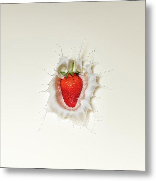 Strawberry Splash In Milk Metal Print