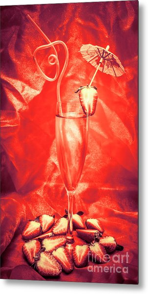 Straweberry Tropical Cocktail Drink Metal Print