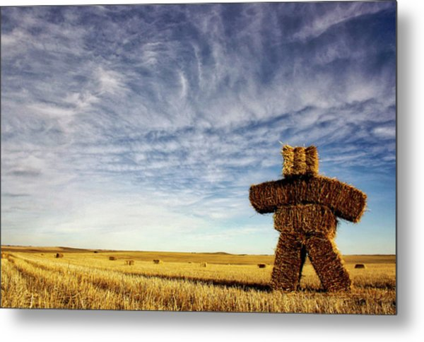 Strawman On The Prairies Metal Print
