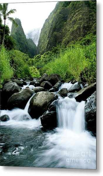 Stream Flowing From Iao Needle Metal Print
