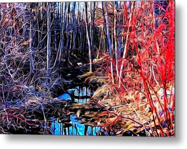 Stream Red And Blue Metal Print