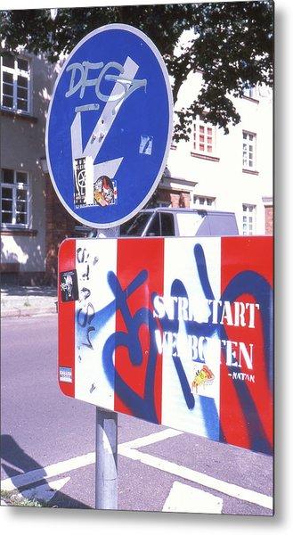 Street Art In Street Sign Metal Print