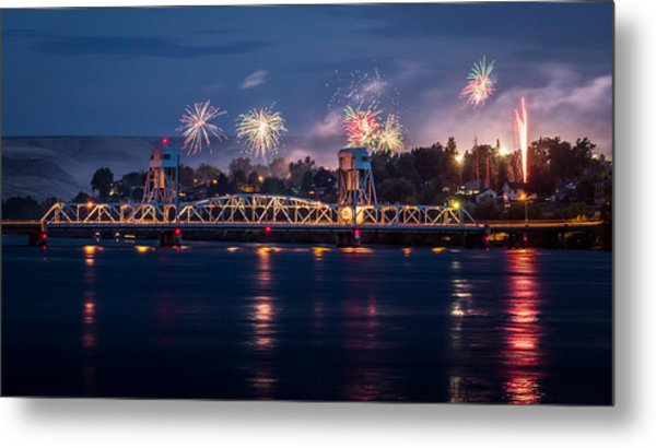 Street Fireworks By The Blue Bridge Metal Print