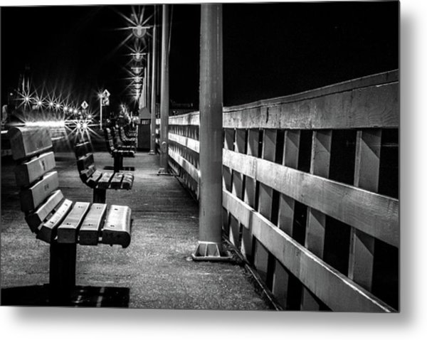 Santa Cruz Wharf At Night Metal Print