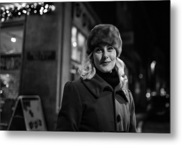 Street Portrait Of A Woman Metal Print by The Man With a Hat