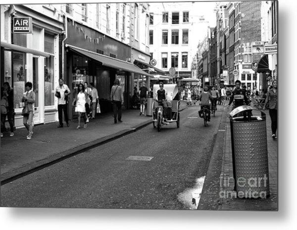 Street Riding In Amsterdam Mono Metal Print by John Rizzuto