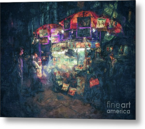 Street Vendor Food Stand Metal Print