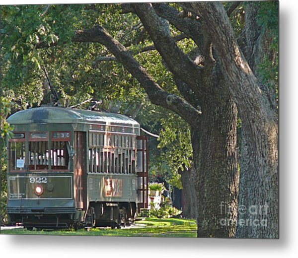 Streetcar Under The Oak Trees Metal Print