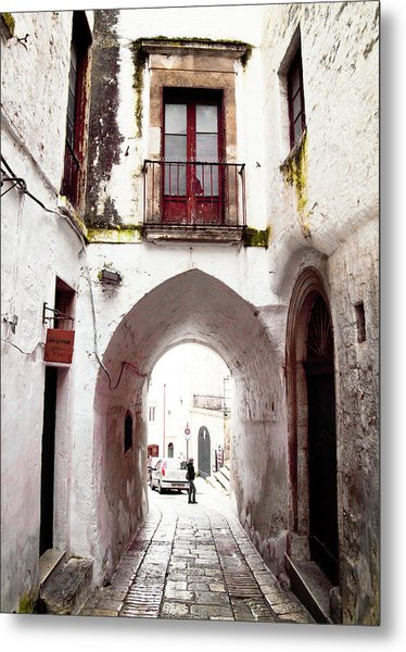 Streets Of Ostuni Metal Print
