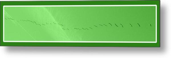 String Of Birds In Green Metal Print