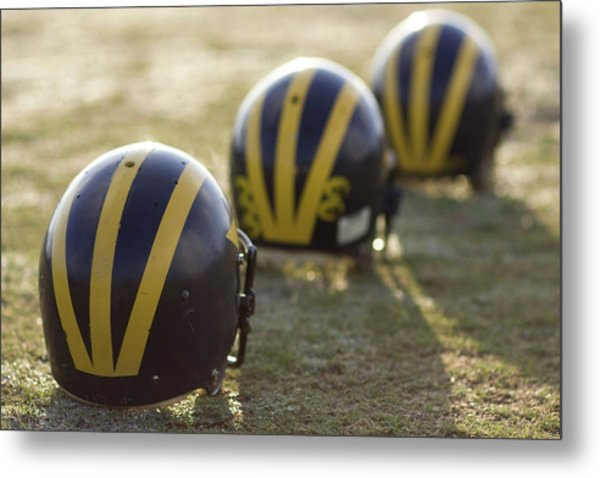 Striped Helmets On A Yard Line Metal Print