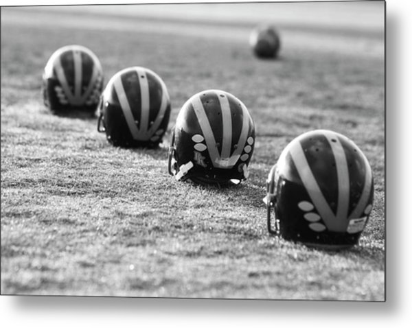 Metal Print featuring the photograph Striped Helmets On The Field by Michigan Helmet