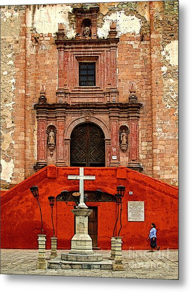 Strolling The Cathedral Plaza Metal Print by Mexicolors Art Photography