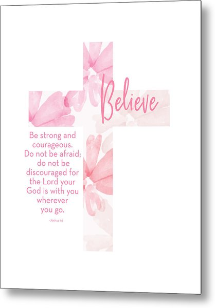 Strong And Courageous Cross- Art By Linda Woods Metal Print