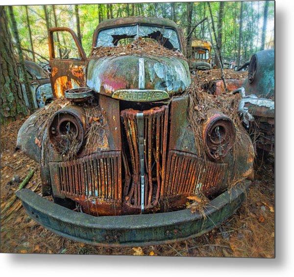 Studebaker With Broken Glass Metal Print