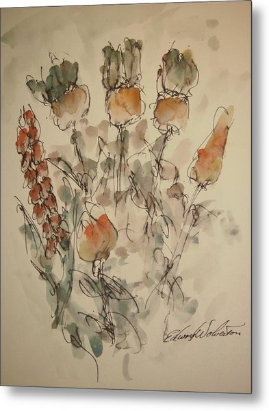 Study Of Flowers V Metal Print by Edward Wolverton