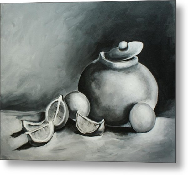 Study Of Lemons, Oranges And Covered Jug In Black And White Metal Print