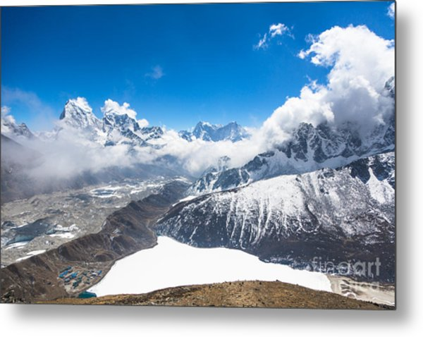 Stunning Panorama Over Gokyo In Nepal Metal Print