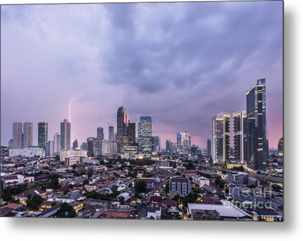 Stunning Sunset Over Jakarta, Indonesia Capital City Metal Print