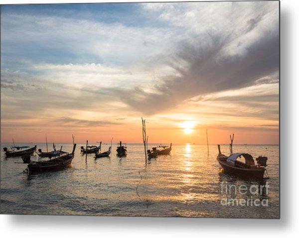 Stunning Sunset Over Wooden Boats In Koh Lanta In Thailand Metal Print