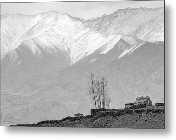 Stupa And Trees Metal Print