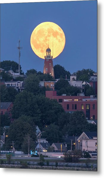 Sturgeon Moon Over Portland Observatory Metal Print