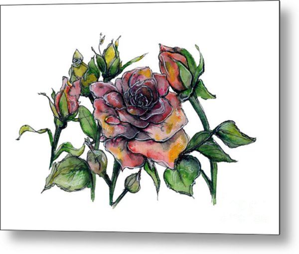 Stylized Roses Metal Print