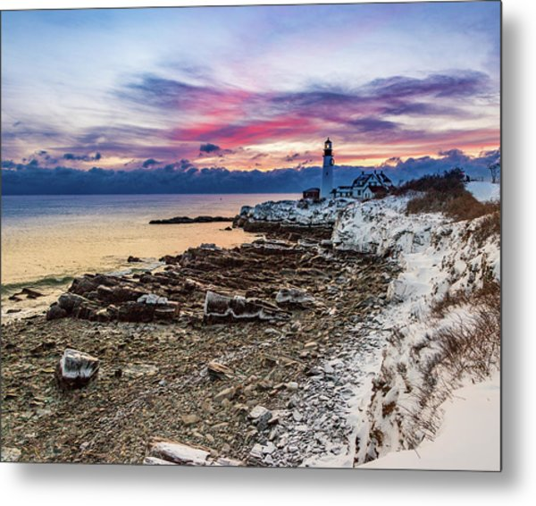 Subtle Sunrise At Portland Head Light Metal Print