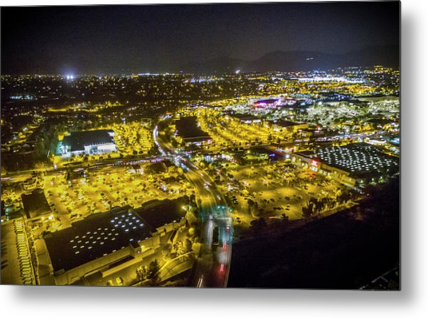 Suburbia At Night Temecula California Metal Print