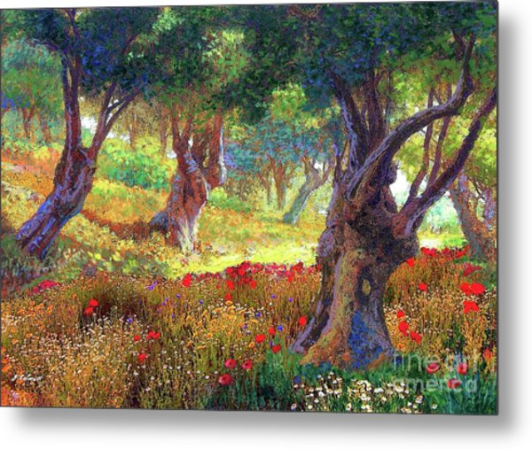 Tranquil Grove Of Poppies And Olive Trees Metal Print