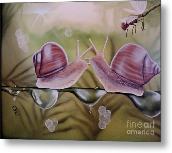 Sue And Sammy Snail Metal Print