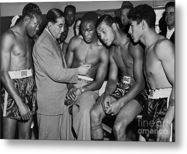 Sugar Ray Robinson And Others Go Through A Pre-fight Checkup. 1948 Metal Print by Anthony Calvacca