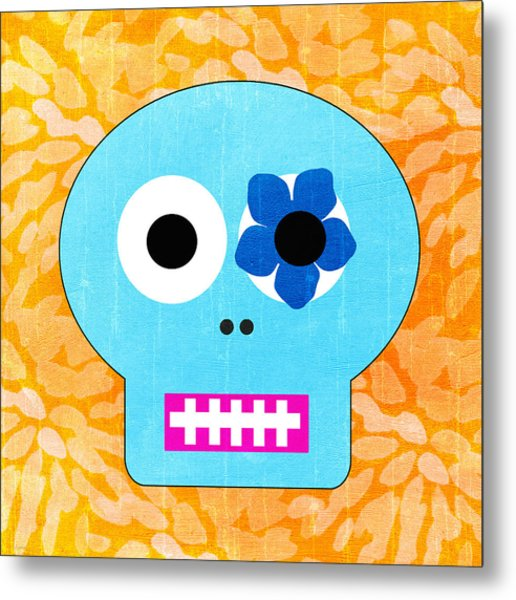 Sugar Skull Blue And Orange Metal Print