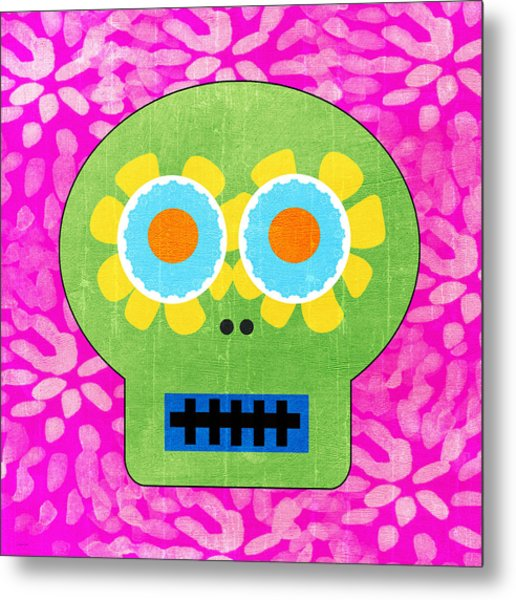 Sugar Skull Green And Pink Metal Print