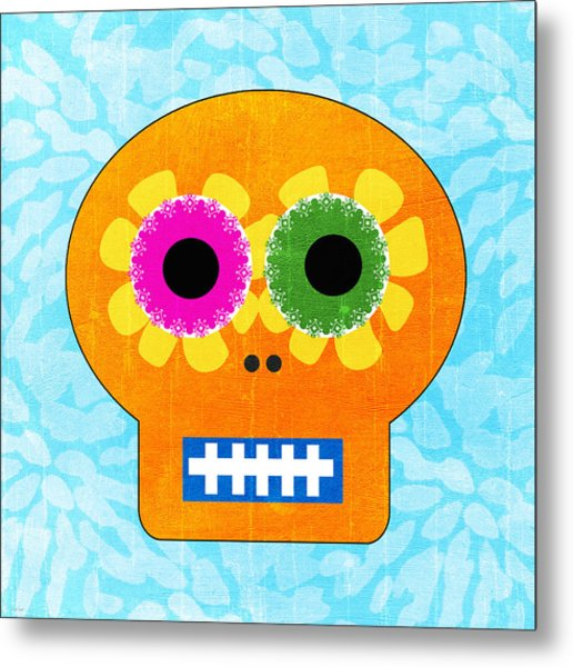 Sugar Skull Orange And Blue Metal Print