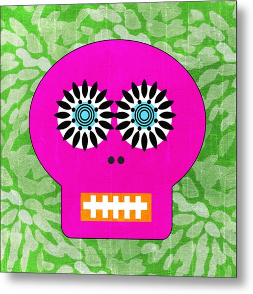 Sugar Skull Pink And Green Metal Print